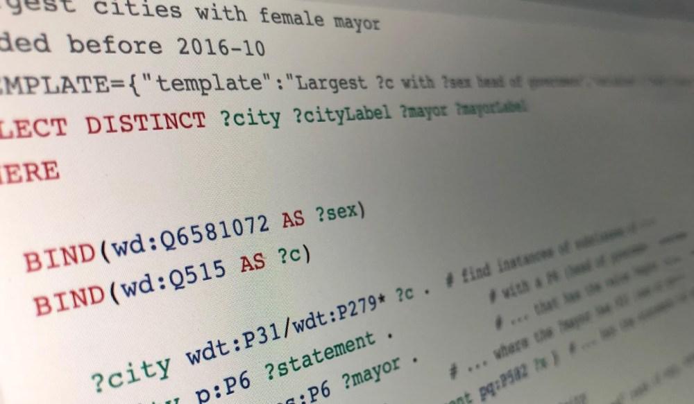 Image of SPARQL code